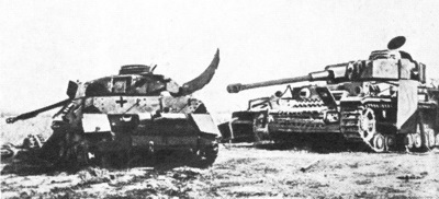 Destroyed German tanks at Kursk